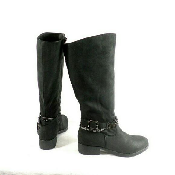 f863570df4f6 Style   Co Wardd Black Moto WIDE CALF Boots