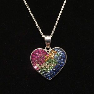 Jewelry - Crystal sterling silver heart necklace NWOT