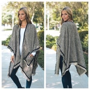 Sweaters - Tweed Ruana/Poncho with pockets