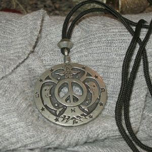 Bohemian Peace sign and Dolphin necklace
