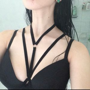 ebf071aca0 Jewelry - 🆕 Strappy Harness Bralette Choker Bandage Bra Top