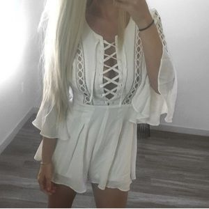 Pants - *SALE* New white lace-up romper