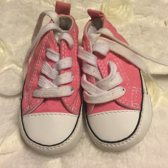 efa15430936 Converse Other - Pink baby converse size 1 and overalls