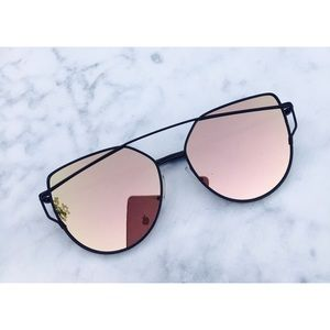 Accessories - Rose Gold On Black Mirrored Sunglasses