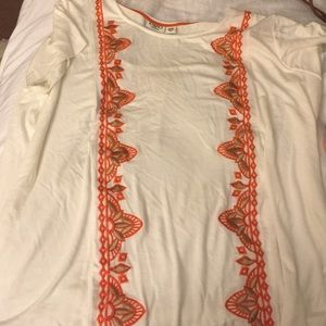 Flowy orange, gold and white top NWOT