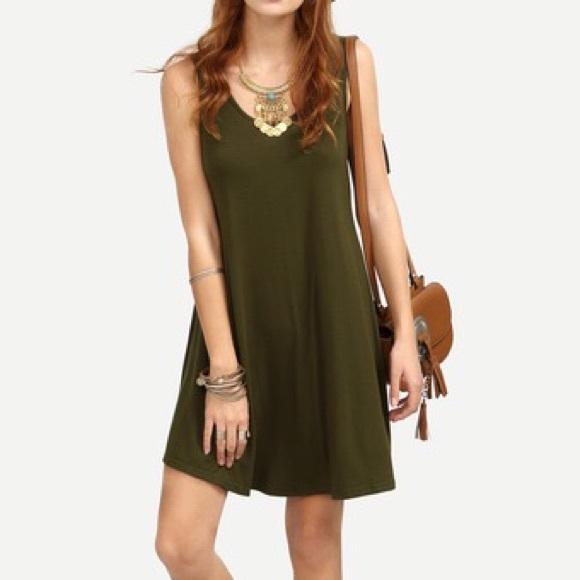 c1e20288410ae Dresses | Army Olive Green Loose Sleeveless Tank Swing Dress | Poshmark