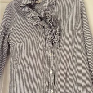 JCREW button up, stripped long sleeve blouse