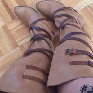 Shoes - One of a kind over the knee tan color leather boot