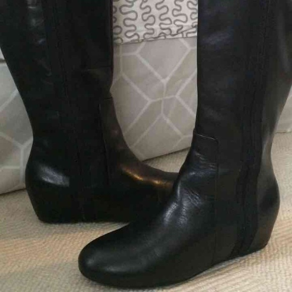 8f8c970d69b Sale! Nine West Tall Black Leather Flat Boots