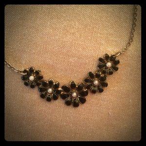Gold & black flower necklace