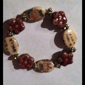 NWOT Natural Bead Red Rust Bracelet