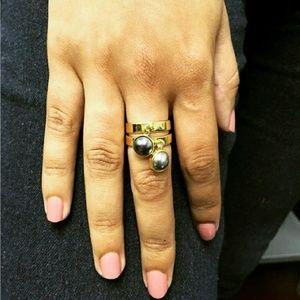 Iridescent Gray Swarovski Pearl Dangle Ring
