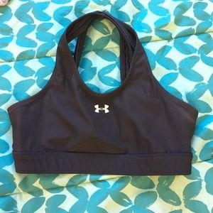 Black criss cross under armour sports bra