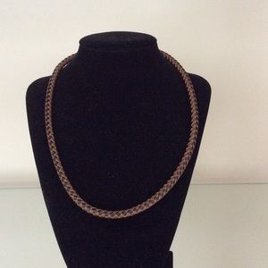 Other - NWOT Genuine Leather Black/Tan Braided Necklace