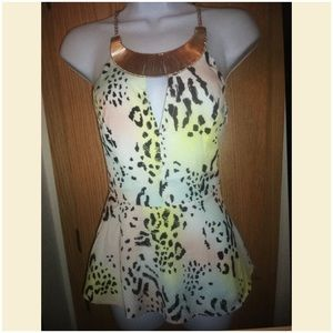 2B BEBE Animal print with Gold accent necklace top