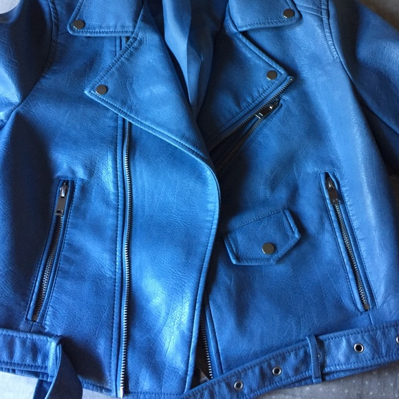 Zara Jackets & Coats - Zara light blue faux leather jacket