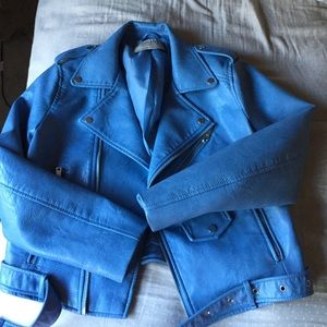 Zara Jackets & Blazers - Zara light blue faux leather jacket