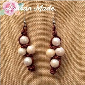 NEW Artisan Leather Freshwater Pearl Earrings Boho