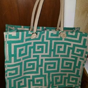 Handbags - Large heavy duty burlap bag in tan and turquoise