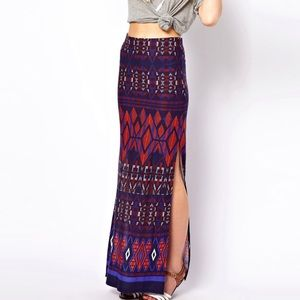 ASOS Aztec Print Maxi Skirt With Slits