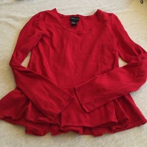 Central Park West Sweaters - Red peplum sweater