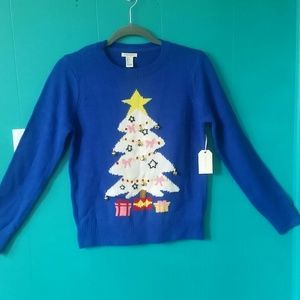 "Forever 21 Sweaters - LSLV F21 ""Ugly"" Sweater-Royal Blue/Multi"