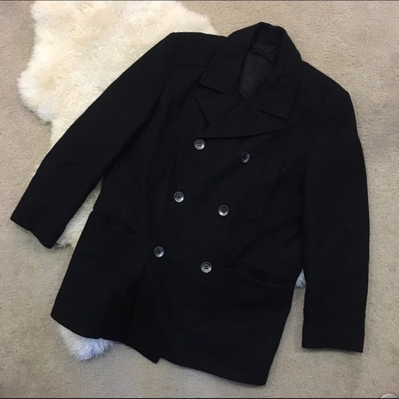 ebabf24646a1b MENS Black Rivet Double Breasted Wool Peacoat