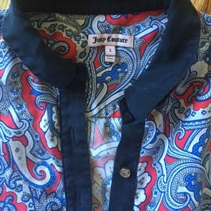 Juicy Couture Indian Gem Paisley Collared Tank Top