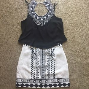 White Geometric Mini Skirt