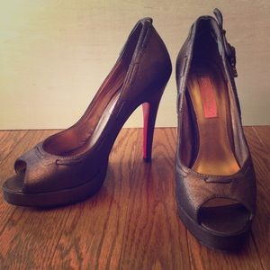 Betsey Johnson Pink Bottom Metallic Heels