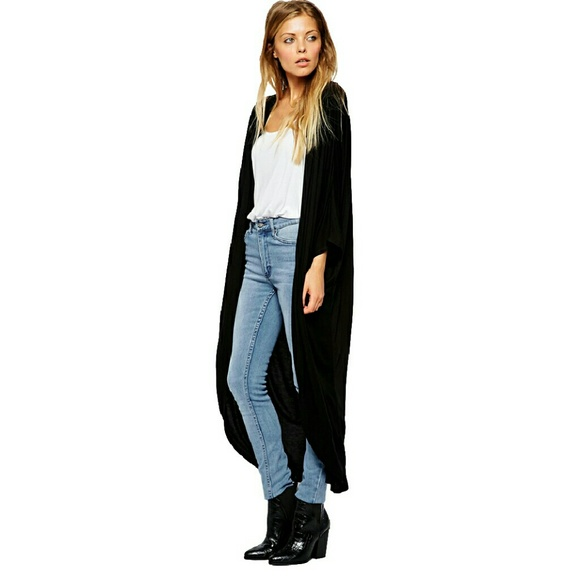 55% off H&M Sweaters - Long Black Duster Maxi Cardigan from Cece's ...