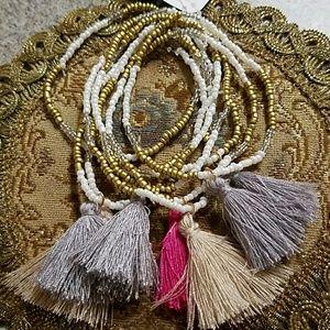 Seed Bead bracelet set New tassels