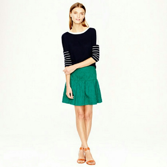 J. Crew Dresses & Skirts - J.Crew Kelly Green Matelasse Drop Waist Skirt