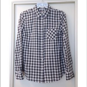 Black & White Checkered Gingham Button Up Shirt