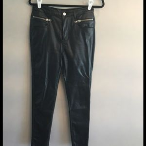 Black faux leather (PU) pants with zipper detail