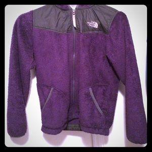 Purple north face fuzzy jacket