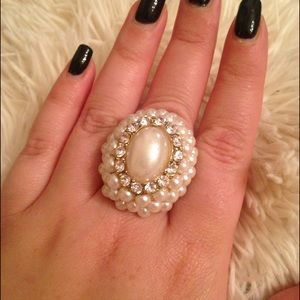 Pearl, Gold, and Rhinestone Ring