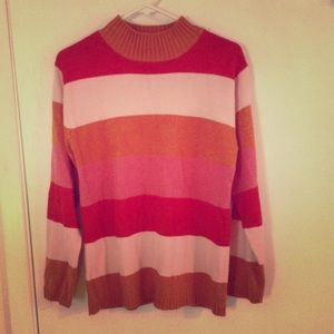 Vintage pink&red striped pretty-ugly sweater