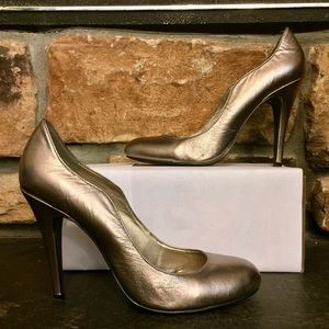 Pewter round toe pumps