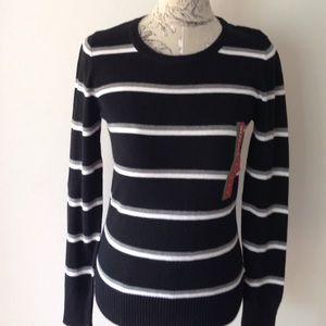  Merona Striped Black Sweater M