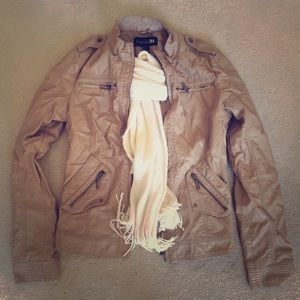 FOREVER 21 Tan Faux Leather Jacket! Size Small!