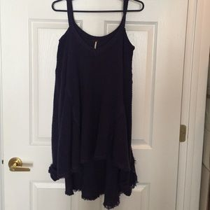 Free people off the shoulder navy blue sweater