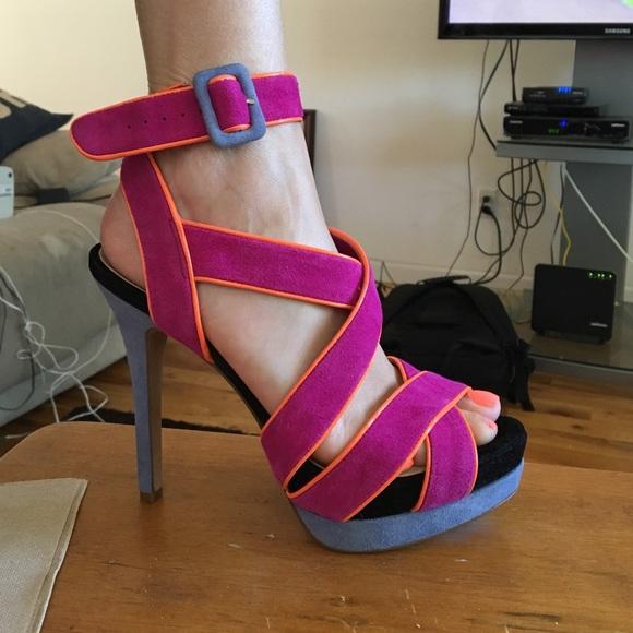 Multi Colored Strappy Heels