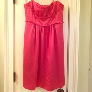 BCBG strapless coral dress