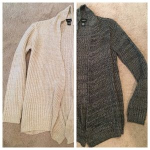 Cream and Grey Sweater Cardigans
