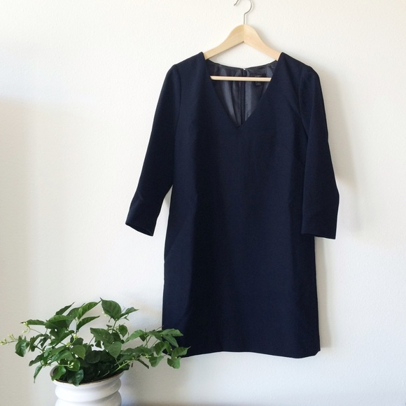 8e513f411819 J. Crew Dresses | Jcrew Wool Vneck 34sleeve Shift Dress Navy 6 ...