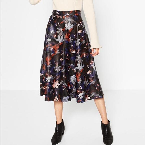 79% off Zara Dresses & Skirts - Zara Printed Leather Effect skirt ...
