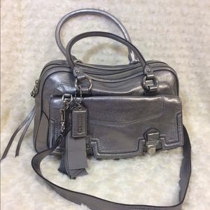 Authentic Coach Leather Poppy Pushlock Bag Tote