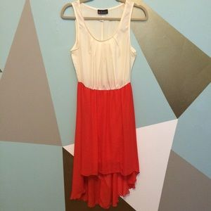 Dresses & Skirts - 🆕 Lovely ivory and coral chiffon dress