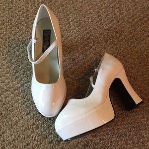 Funtasma Shoes - Funtasma White Shiny Platform Buckle Heels 9